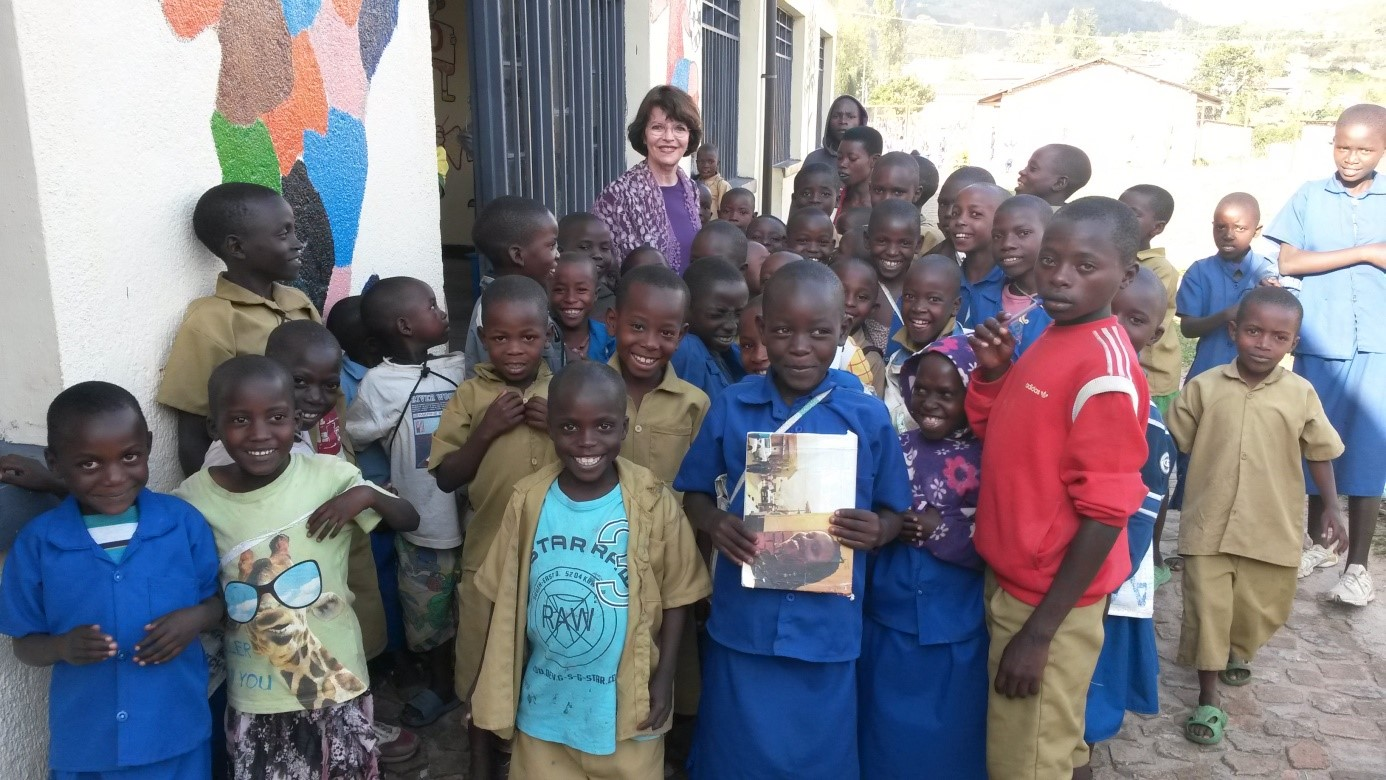 With children at school, Nyanza, Rwanda